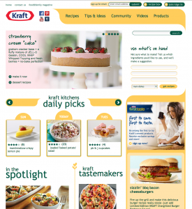 The homepage of Kraft's online content hub