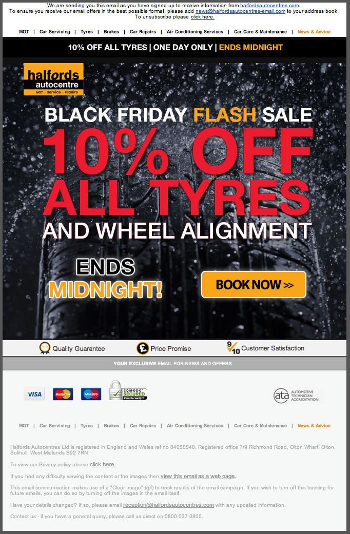 An e-shot CW created for Halfords Autocentres promoting their Black Friday deal